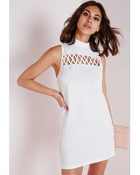 Missguided - Criss Cross Front Shift Dress White - Lyst