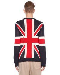 Balmain - Blue Uk Flag Destroyed Linen Sweater for Men - Lyst