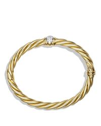 David Yurman | Yellow Sculpted Cable Bracelet With Diamonds | Lyst