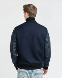 Zara | Blue Combination Bomber Jacket for Men | Lyst