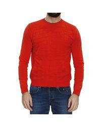 Mauro Grifoni - Orange Sweater Knit Crew-Neck Jaquard Tone On Tone Su Tone On Tone for Men - Lyst