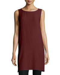 Eileen Fisher   Brown Georgette Crepe Long Shell   Lyst