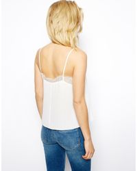 ASOS - White Woven Cami with Lace Neckline - Lyst