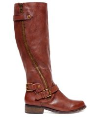 Steve Madden | Brown Synicle Leather Tall Zip Boots | Lyst