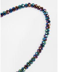 ASOS | Blue Disco Bead Choker Necklace | Lyst