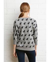 Forever 21 | Gray Cat Print Sweatshirt | Lyst