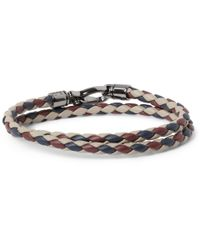 Tod's | Purple Woven-Leather Wrap Bracelet for Men | Lyst