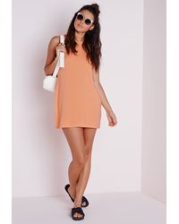 Missguided - Low Armhole Jersey Shift Dress Orange - Lyst