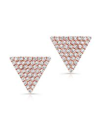 Anne Sisteron | Pink 14kt Rose Gold Large Diamond Triangle Olivia Stud Earrings | Lyst