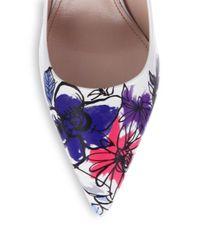 Miu Miu   Blue Painted Flowertoe Leather Pumps   Lyst