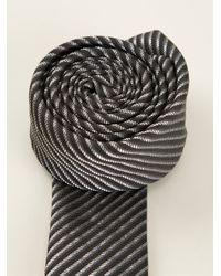 Saint Laurent - Black Diagonal Stripe Tie for Men - Lyst