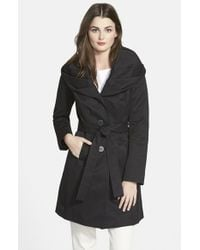 T Tahari | Black 'cheryl' Trench Coat | Lyst