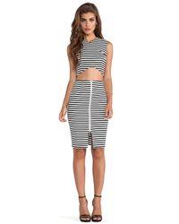 Nicholas - Black Stripe Ponti Pencil Skirt - Lyst