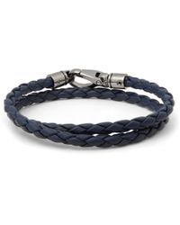 Tod's | Blue Woven-Leather Wrap Bracelet for Men | Lyst