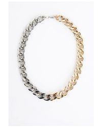 Missguided | Metallic Colour Block Chain Necklace Gold | Lyst