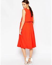 ASOS | Orange Nursing Sleeveless Midi Skater Dress With Double Layer | Lyst