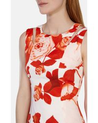 Karen Millen - Red Oversize Floral Pencil Dress - Lyst