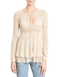 Free People - Black 'angel Days' Pullover - Lyst
