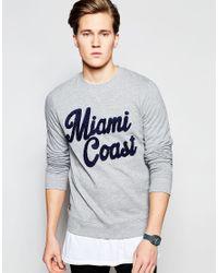 Threadbare - Gray Miami Coast Sweat Jumper for Men - Lyst