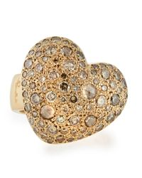 Pomellato - Natural Sabbia Pave Diamond Heart Ring - Lyst