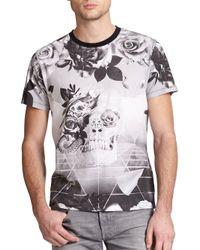 DIESEL - Black Skull & Rose Geometric-print Cotton Tee for Men - Lyst