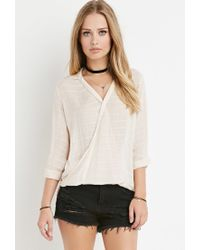 Forever 21 | White Tonal-stripe Twisted Hem Top | Lyst