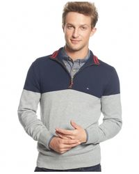 Tommy Hilfiger | Blue Signature Colorblocked Quarter-zip Sweater for Men | Lyst