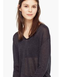 Mango - Gray Metallic Finish Sweater - Lyst