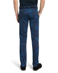 BOSS Green - Blue 'leeman Print-w' | Slim Fit, Stretch Cotton Blend Pants for Men - Lyst