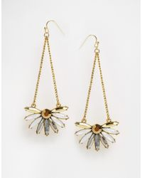 Little Mistress | Metallic Stone & Chain Drop Earrings | Lyst