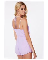 Missguided - Purple Lintley Chiffon Strappy Romper Lilac - Lyst