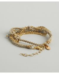 Sogoli | Metallic Gold Braided Chain And Fabric Beaded Bracelet | Lyst