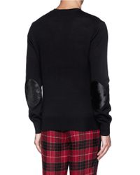Ovadia And Sons - Black Pony Hair Elbow Patch Sweater for Men - Lyst