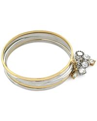 BCBGeneration - Metallic Two-tone Crystal Bangle Bracelet Set - Lyst