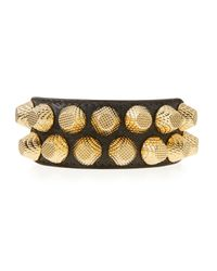 Balenciaga | Metallic Giant 12 Wide Leather Bracelet With Studs | Lyst