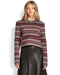 Rag & Bone - Red Hailey Cropped Fair Isle Sweater - Lyst
