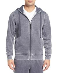 Daniel Buchler - Gray Washed Cotton Blend Zip Hoodie for Men - Lyst