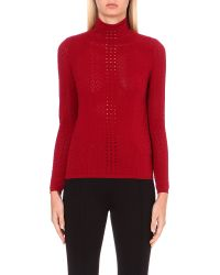Sandro | Red Turtleneck Lace-knit Jumper | Lyst