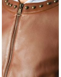 Dolce & Gabbana - Brown Studded Leather Jacket - Lyst
