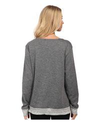 Carole Hochman - Gray Double Faced Jersey Long Sleeve Top - Lyst
