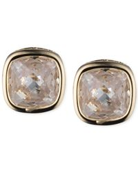 Anne Klein | Metallic Gold-Tone Crystal Button Earrings | Lyst