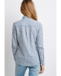 Forever 21 | Blue Gingham Pocket Shirt You've Been Added To The Waitlist | Lyst