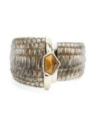 Alexis Bittar | Metallic Crystal Encrusted Croc Textured Hinge Bracelet | Lyst