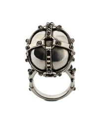 Alexander McQueen - Metallic Harness Skull Ring for Men - Lyst