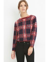 Forever 21 | Blue Fuzzy Plaid Sweater | Lyst