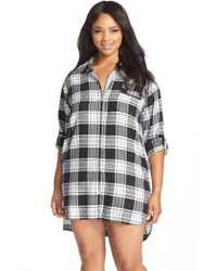 DKNY | Gray Plaid Flannel Sleep Shirt | Lyst