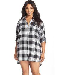 DKNY - Gray Plaid Flannel Sleep Shirt - Lyst