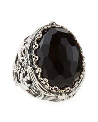 Konstantino - Oval Black Onyx Open Filigree Ring - Lyst