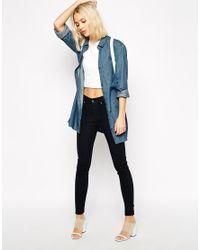 Cheap Monday - Blue Long Denim Shirt With Pocket - Lyst