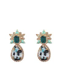 Shourouk - Green Galaxy Sequins Earrings - Lyst
